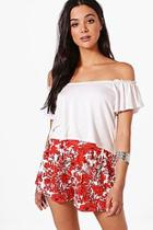 Boohoo Rita Red Floral Shorts