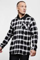 Boohoo Oversized Check Shirt With Jersey Hood