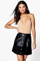 Boohoo Adelaide Button Through A Line Leather Look Skirt
