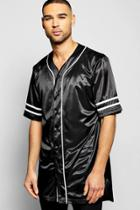 Boohoo Oversized Longline Baseball Shirt Black