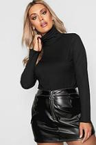 Boohoo Plus Lettuce Hem Rib High Neck Top