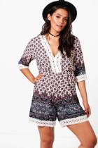 Boohoo Plus Lena Tile Print Crochet Trim Playsuit Multi