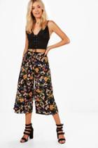 Boohoo Paloma Printed Woven Wide Leg Culottes Black