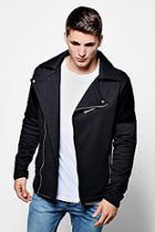Boohoo Jersey Biker Jacket With Velour Panel