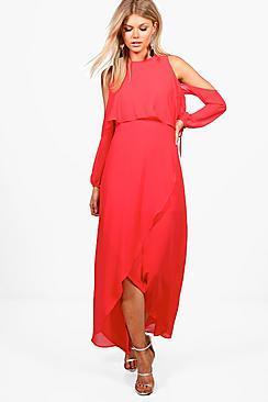 Boohoo Petite Violet Chiffon Double Layer Maxi Dress