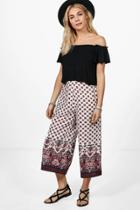 Boohoo Giselle Woven Border Print Wide Leg Culottes Multi