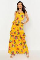 Boohoo Ruffle Layered Floral Maxi Dress