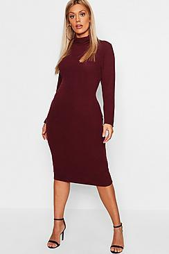Boohoo Plus Roll Neck Soft Rib Midi Dress