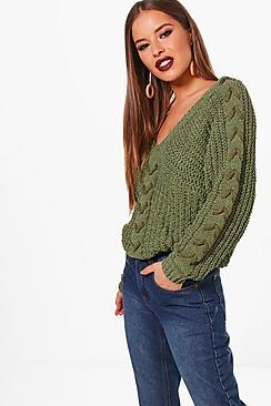 Boohoo Petite Lydia Lace Up Sleeve Cable Knee Jumper