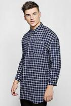 Boohoo Brushed Check Oversized Longline Shirt