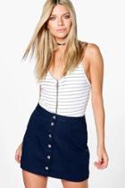 Boohoo Emily Navy Button Through A Line Denim Skirt Navy