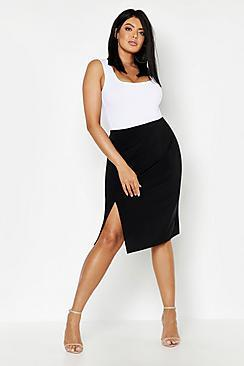 Boohoo Plus Slinky Split Midi Skirt