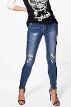 Boohoo Zoe Distressed Skinny Jeans
