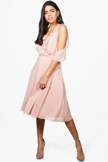 Boohoo Rae Chiffon Frill Cold Shoulder Midi Dress Blush