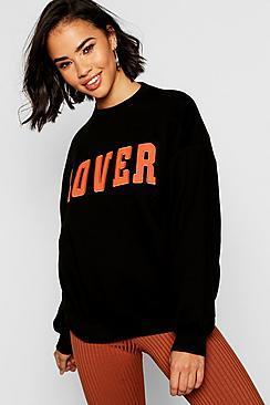 Boohoo Lover Applique Slogan Sweat
