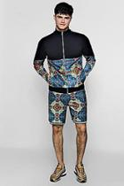 Boohoo Moroccan Print Short Tracksuit With Contrast Taping