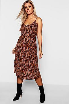 Boohoo Plus Tiger Printed Strappy Midi Dress