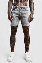 Boohoo Stretch Skinny Fit Pale Grey Acid Wash Denim Shorts