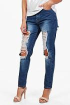 Boohoo Sally Heavily Distressed Boyfriend Jeans