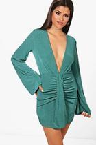 Boohoo Drape Detail Long Sleeve Bodycon Dress