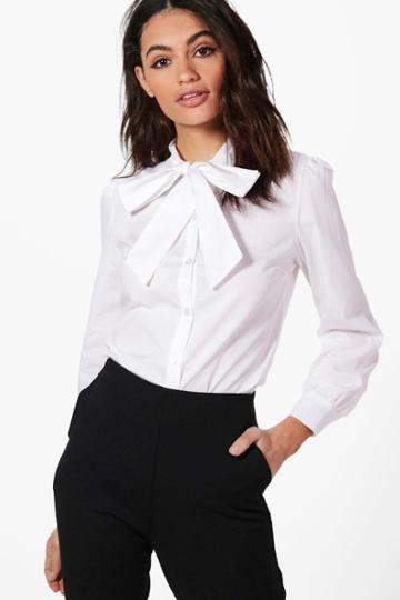 Boohoo Keira Tie Neck Shirt Cream