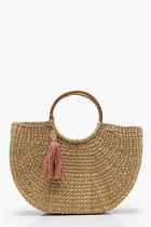 Boohoo Amber Bamboo Handle Structured Straw Bag