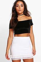 Boohoo Petite Alisha Mesh Frill Hem Mini Skirt