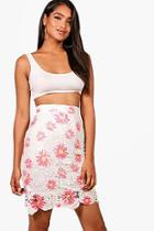 Boohoo Gia Printed Lace Skirt