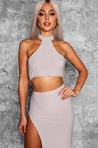 Boohoo High Neck Racer Crop Top