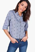 Boohoo Emily Embroidered Gingham Boxy Tailored Shirt
