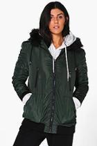 Boohoo Faith Faux Fur Hood Bomber Coat