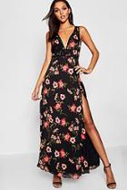 Boohoo Lace Trim Detail Floral Maxi Dress