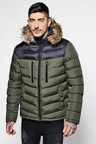 Boohoo Colour Block Padded Jacket With Faux Fur Hood