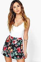 Boohoo Anna Floral Print Flippy Shorts