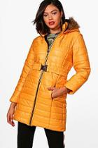 Boohoo Faux Fur Hood Longline Padded Jacket