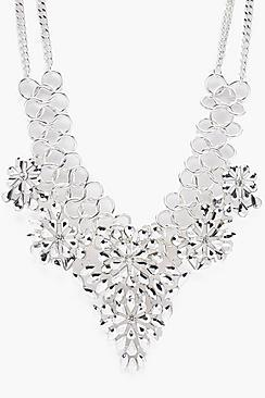 Boohoo Louise Statement Diamante Floral Necklace