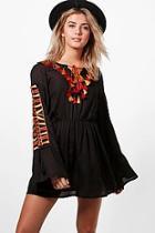 Boohoo Boutique Iva Embroidered Tassle Smock Dress