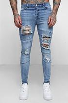 Boohoo Super Skinny Distressed Panel Biker Jeans