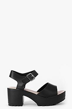 Boohoo Julia Peeptoe Two Part Cleated Sandals