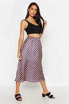 Boohoo Striped Satin Midi Skirt