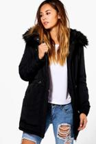 Boohoo Olivia Luxe Padded Coat With Faux Fur Hood Black