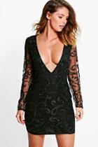 Boohoo Boutique Lia Sequin Print Plunge Bodycon Dress Black