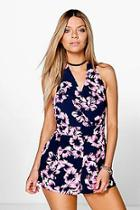 Boohoo Nia Woven Wrap Front Print Playsuit