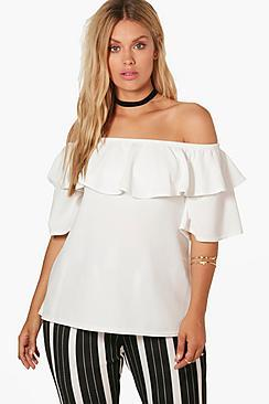 Boohoo Plus Ciara Off Shoulder Ruffle Crepe Top