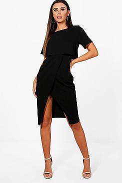 Boohoo Petite Ella Split Sleeve Detail Wiggle Midi Dress