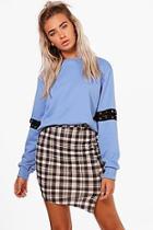 Boohoo Esme Wrap Front Checked Mini Skirt