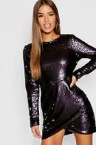 Boohoo Petite Wrap Sequin Bodycon Dress