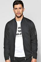 Boohoo Cotton Ma1 Bomber Jacket In Black