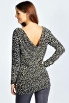 Boohoo Mia Long Sleeve Cowl Back Sequin Top Black
