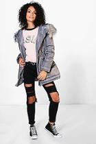 Boohoo Lily Luxe Padded Coat With Faux Fur Hood